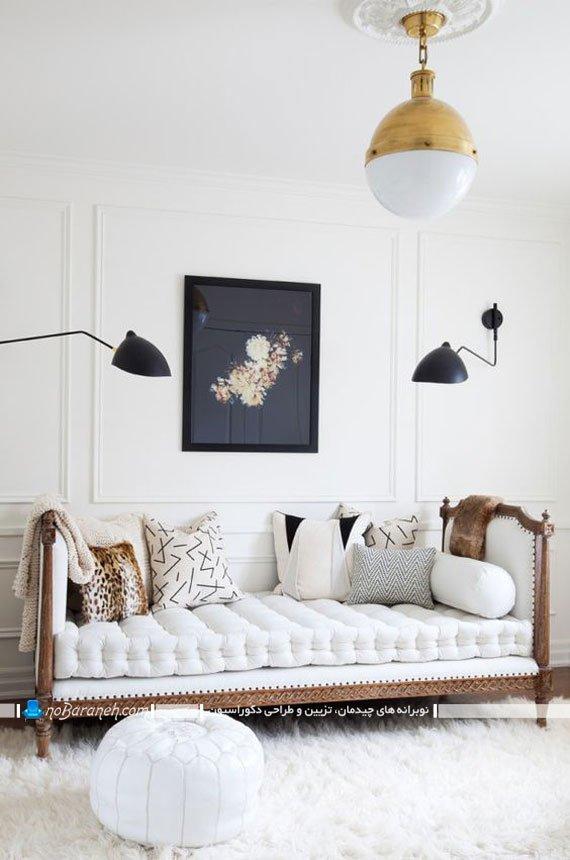 کاناپه سلطنتی سفید رنگ
