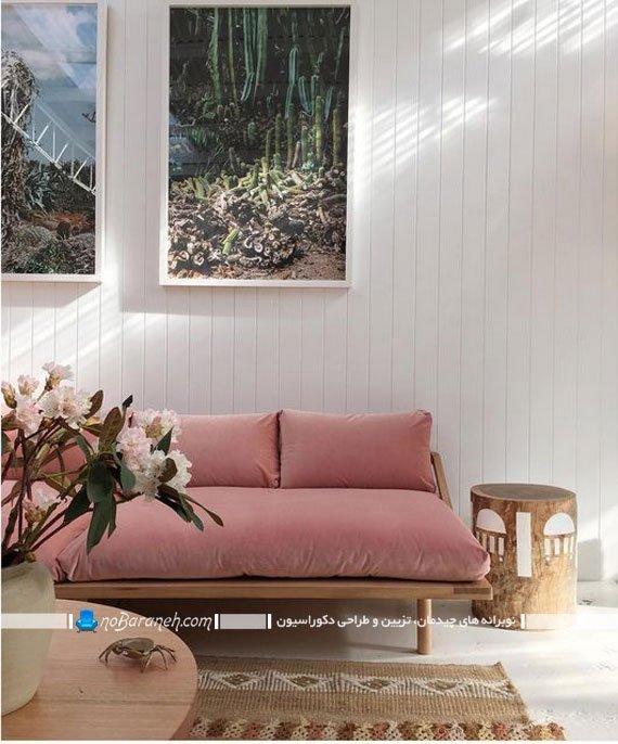 چیدمان کاناپه راحتی تخت خوابشو بدون دسته و ساده