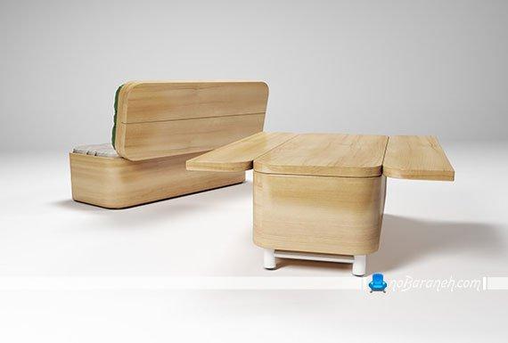 کاناپه کمجا و تاشو قابل تبدیل به میز و صندلی ناهارخوری