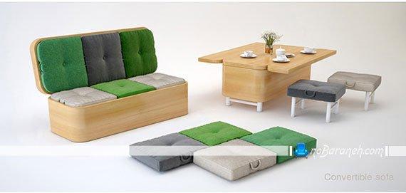 کاناپه کوچک و کمجا قابل تبدیل به میز ناهارخوری