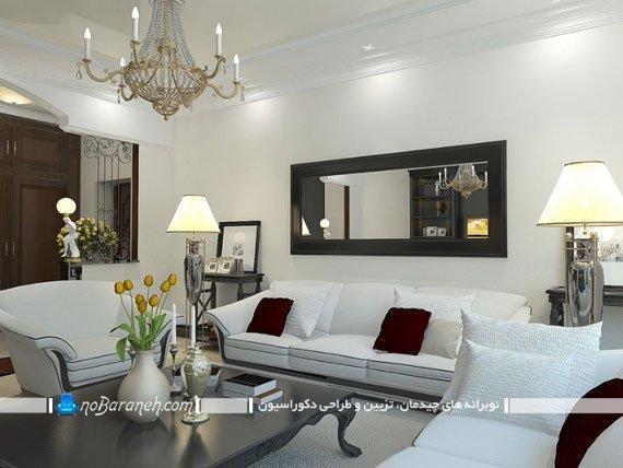 تزئین مدرن دیوار پذیرایی با آینه قاب دار سیاه