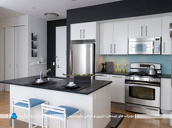 تزیین آشپزخانه مدرن با کابینت های سیاه و سفید