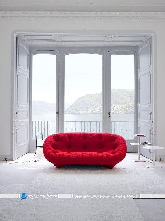 مبل و کاناپه شیک و مدرن دو نفره با رنگ بندی متنوع و زیبا. طرح های جدید مبل راحتی و مبلمان خانگی برای چیدمان اتاق پذیرایی. مبل تک به شکل کاناپه