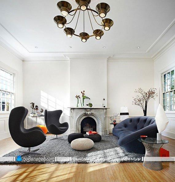 کاناپه دو نفره با طراحی جدید. جدیدترین مدل کاناپه و مبلمان راحتی اسپرت برای چیدمان اتاق پذیرایی با طرح جدید و زیبا در کنار صندلی تخم مرغی