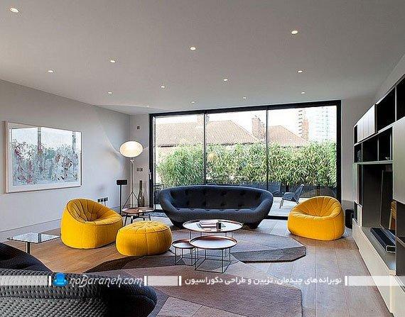 مبل راحتی شیک دو نفره. طرح جدید کاناپه راحتی شیک و زیبا برای دکوراسیون اتاق پذیرایی. چیدمان شیک اتاق پذیرایی با مبل فانتزی