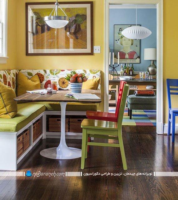 میز ناهارخوری نیمکت دار به شکل ال