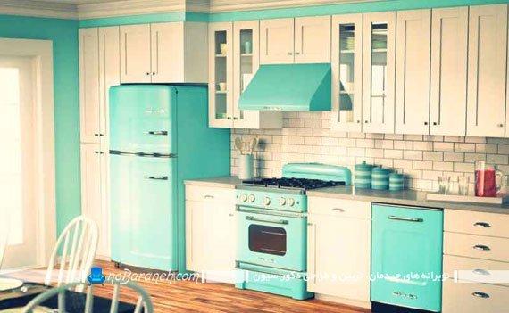 دیزاین آشپزخانه با فسفری و کرم