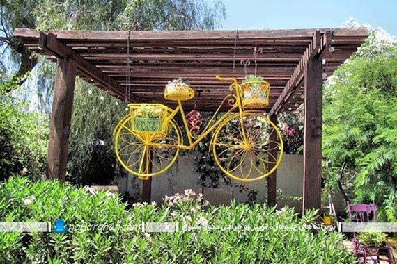 محوطه سازی حیاط خانه با دوچرخه فانتزی