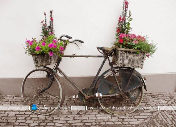 تزیین حیاط خانه با دوچرخه لحاف دوزی