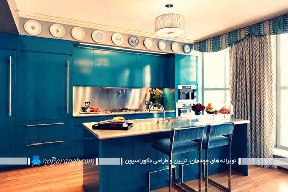 رنگ آمیزی و دکوراسیون آشپزخانه با کابینت رنگ آبی به شکل مدرن ، بهترین رنگ برای آشپزخانه کوچک