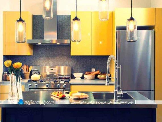 طراحی دکوراسیون آشپزخانه با زرد و خاکستری
