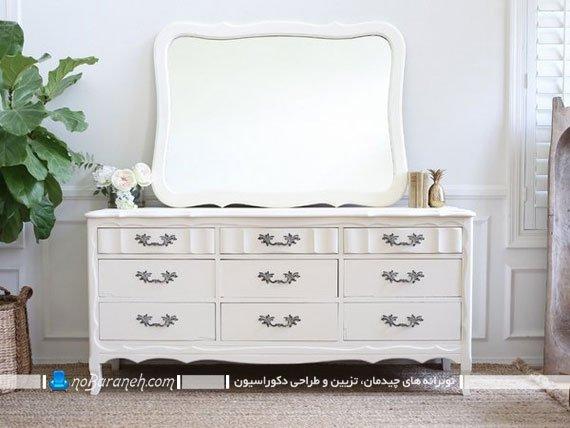 مدل کنسول چوبی سفید رنگ با آینه ساده