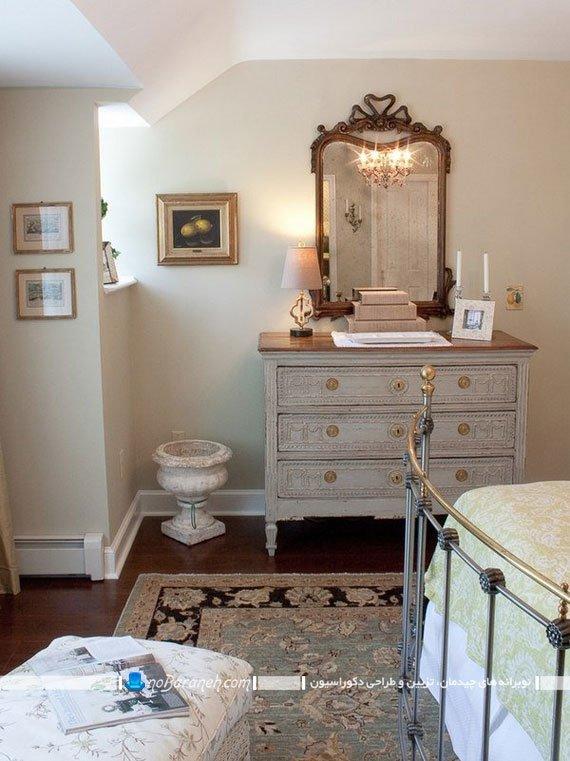 کنسول چوبی با آینه دیواری کلاسیک و سلطنتی