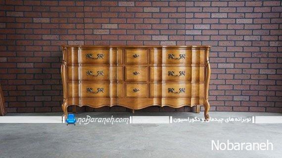 مدل کنسول چوبی قهوه ای رنگ با طرح فرانسوی
