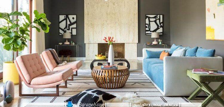 دیزاین اتاق نشیمن با رنگهای شاد و خنثی