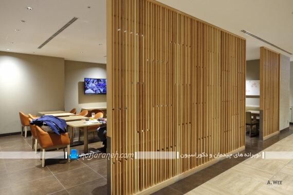 پارتیشن چوبی برای تزیین و تقسیم فضا. مدل های فانتزی و مدرن دیوار جداکننده چوبی برای اتاق پذیرایی منزل.