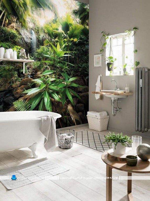 پوستر تزیینی بزرگ با طرح آبشار و گیاهان سبز