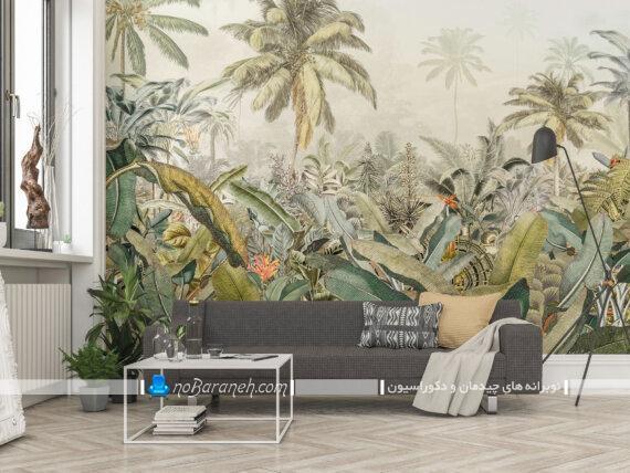 مدل های جدید و شیک پوستر کاغذ دیواری اتاق پذیرایی. تزیین دیوار اتاق پذیرایی و دیوارهای داخلی منزل با پوستر و عکس های بزرگ منظره و طبیعت