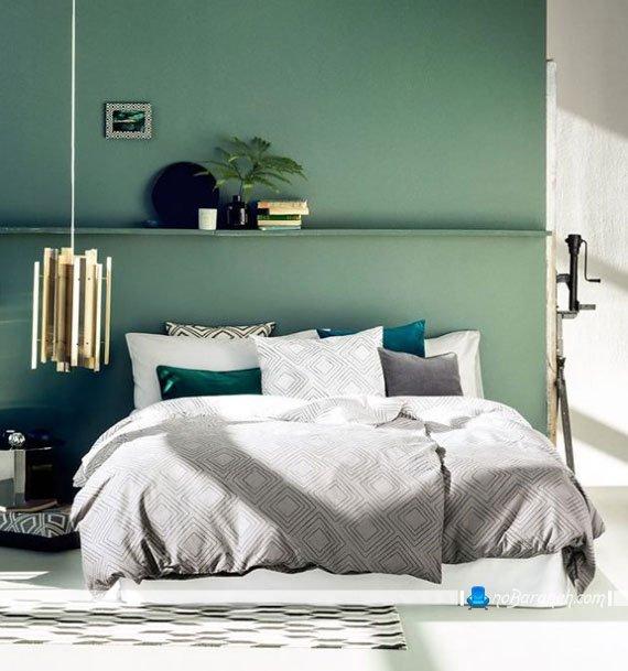 اتاق خواب مدرن با دیوار سبز رنگ