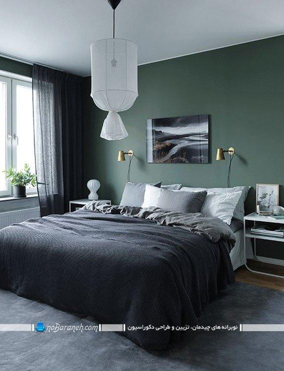 دیزاین اتاق با سبز و خاکستری