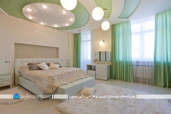 پرده های حریر فسفری و سبز برای تزیین اتاق خواب