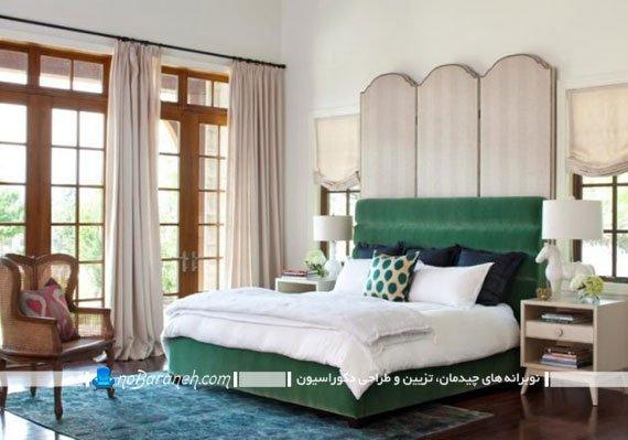 تزیین اتاق خواب با تخت خواب رنگ سبز