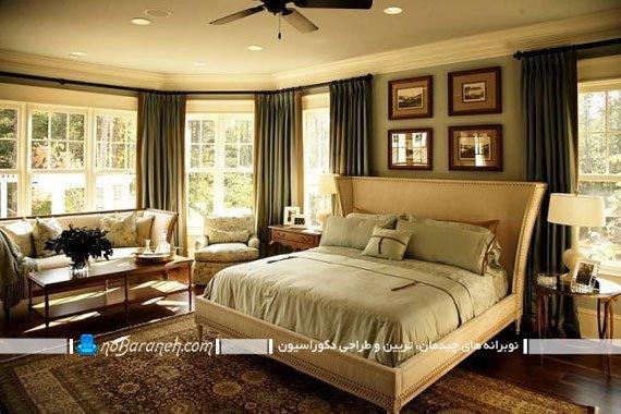 پرده سبز رنگ اتاق خواب