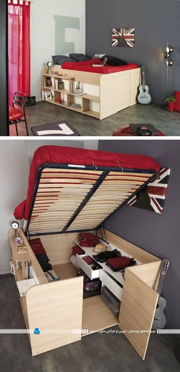 مدل تخت خواب کودک با کمد و قفسه