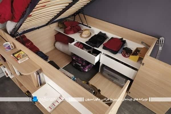 تخت خواب کشو دار قفسه بندی شده. طرح جدید تخت خواب کمجا و چند منظوره برای اتاق بچه ها و نوجوانان
