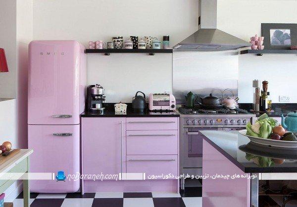 دکوراسیون آشپزخانه با بنفش مایل به صورتی به شکل ارزان و شیک
