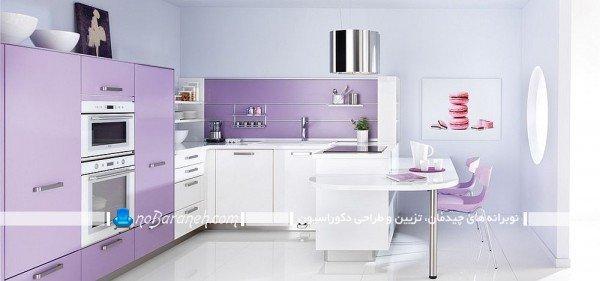 کابینت های سفید و بنفش آشپزخانه