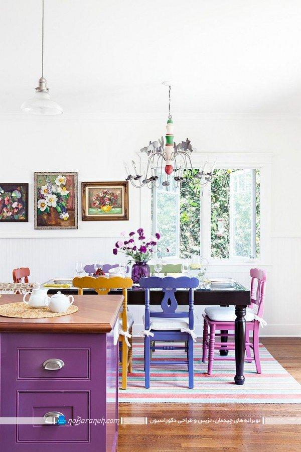 دکوراسیون آشپزخانه با رنگ بنفش و صورتی به شکل ارزان قیمت