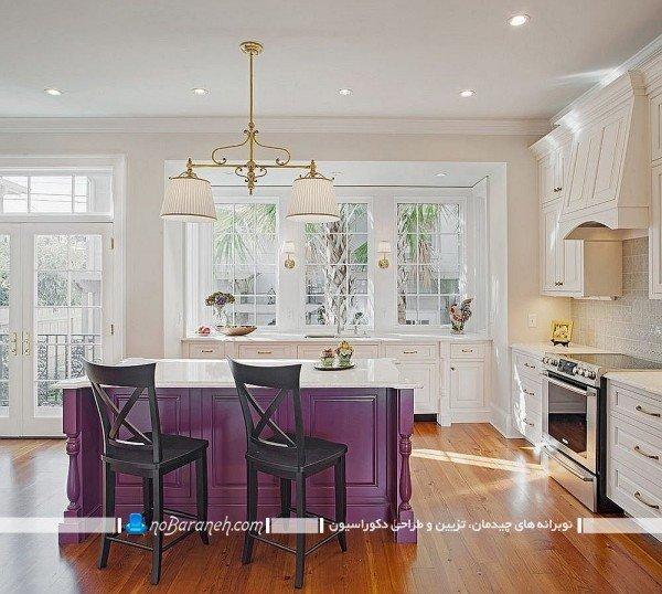کابینت ممبران سفید و بنفش جزیره ، طراحی دکوراسیون کلاسیک آشپزخانه با سفید و بنفش