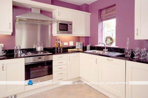 دکوراسیون سفید و بنفش آشپزخانه