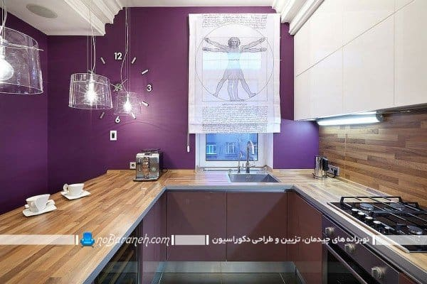طراحی دکوراسیون آشپزخانه با سفید و بنفش