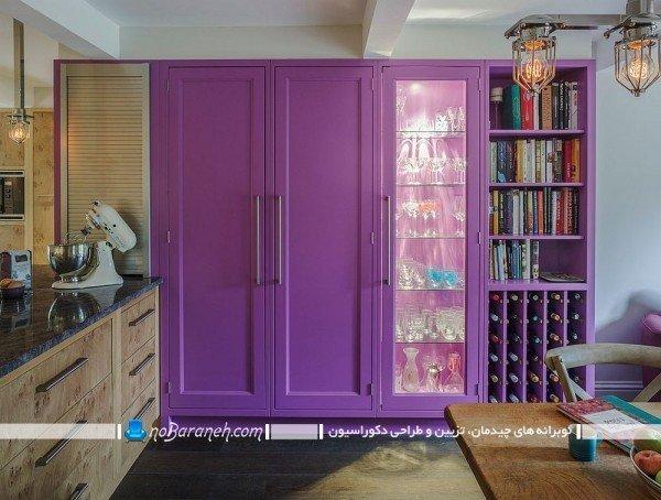 تزیین اطراف آشپزخانه با رنگ بنفش