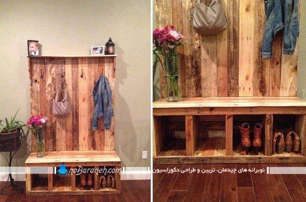 مدل جاکفشی و رخت آویز دست ساز چوبی. مدلهای شیک جدید مدر جاکفشی چوبی برای راهرو ورودی قیمت ارزان