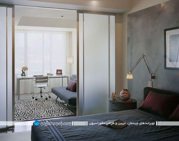 مدل پارتیشن ریلی و کشویی شیشه ای و چوبی / عکس ، مدل پارتیشن ساده چوبی پاتختی / عکس، پارتیشن جدا کننده اتاق