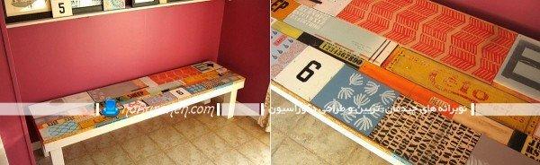 نیمکت چوبی ساده برای چیدمان در راهرو و هال ورودی خانه / عکس