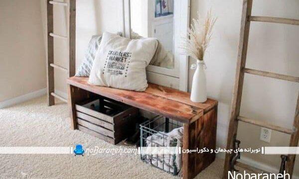 نیمکت چوبی راهرو هال