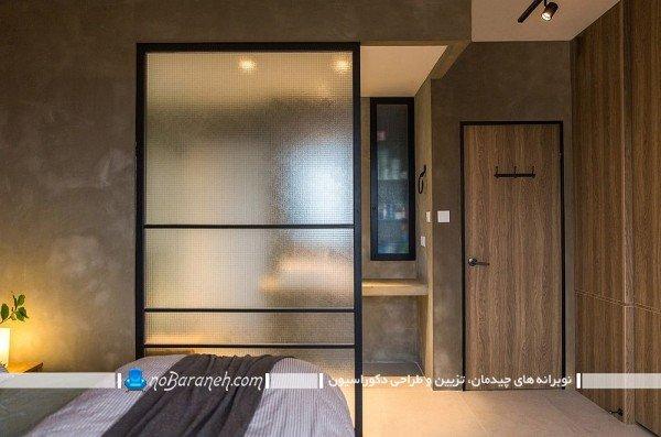 پارتیشن ساده و ارزان چوبی و شیشه ای / عکس
