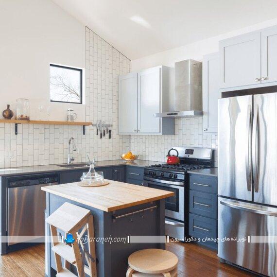میز جزیره کوچک آشپزخانه. مدل میز اپن دو نفره برای آشپزخانه کوچک. میز اپن کوچک دو نفره چوبی ام دی اف.
