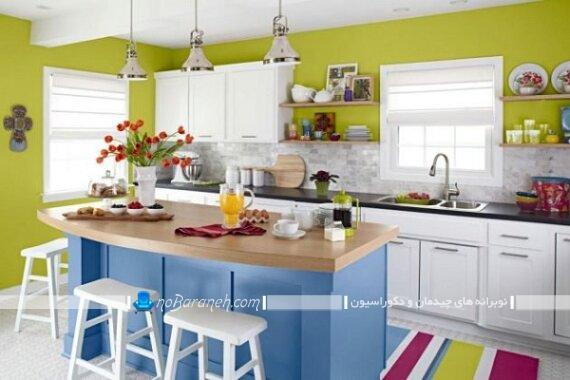 رنگ آمیزی آشپزخانه با آبی و سبز. دکوراسیون شیک آشپزخانه کلاسیک با رنگ آبی و سبز. دیوار سبز رنگ برای آشپزخانه