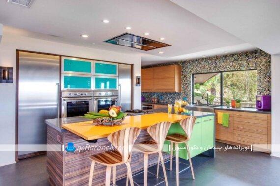 دکوراسیون آشپزخانه مدرن با رنگهای شاد. اصول انتخاب رنگ کابینت آشپزخانه. چه رنگ کابینت اشپزخانه را بزرگتر نشان میدهد