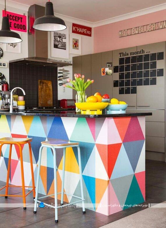 دکوراسیون شیک و متنوع آشپزخانه اپن. رنگ مناسب میز اپن و جزیره آشپزخانه. رنگ بندی زیبا و شیک آشپزخانه اپن. مدل های جدید رنگ آمیزی آشپزخانه