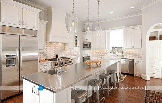 دکوراسیون استیل و نقره ای آشپزخانه