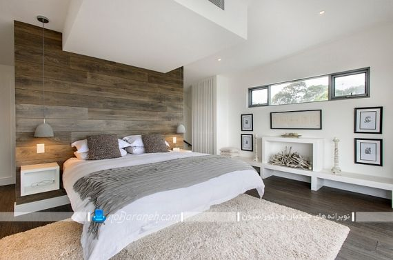 دیزاین اتاق عروس با دیوارپوش چوبی لمینت ، اتاق خواب مدرن عروس. دکوراسیون چوبی و شیک اتاق عروس مدرن فانتزی جدید. طراحی اتاق خواب با دیوار چوبی برای پشت سرویس خواب