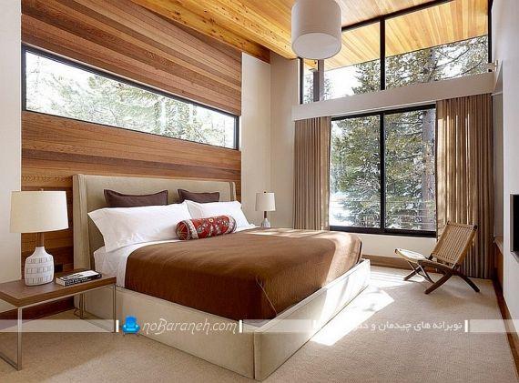 دکوراسیون اتاق خواب عروس و داماد. دکوراسیون و دیزاین چوبی شیک و مدرن برای اتاق خواب عروس. تزیین پشت سرویس خواب و تخت خواب با صفحه های چوبی ام دی اف mdf