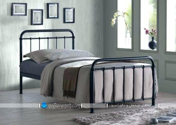 تخت خواب فرفوژه ساده و سیاه رنگ