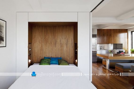 دکوراسیون اتاق خواب ساده و شیک. دکوراسیون چوبی و مدرن اتاق عروس. مدل های تزیین اتاق خواب با طرح چوب
